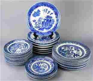 Lot Chinoiserie Churchill Transferware Plates