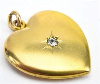Antique 19th C 14kt Gold & Diamond Heart Locket