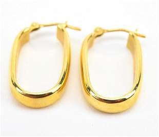 Estate Pair of 18kt Yellow Gold Hoop Earrings
