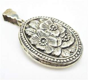 Estate Repousse Sterling Silver Locket Pendant