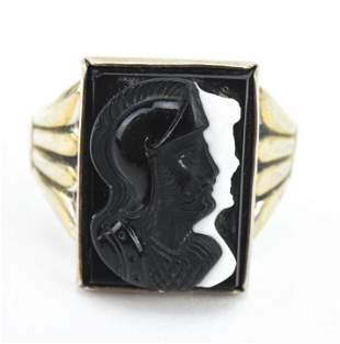 Antique Black & White Banded Agate Sterling Ring