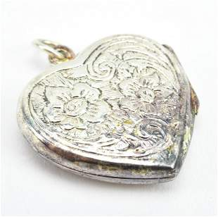 Estate Floral Motif Sterling Silver Heart Locket
