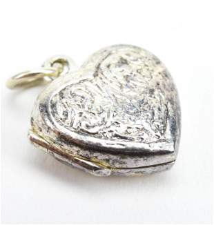 Vintage Sterling Silver Heart Form Locket Pendant