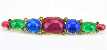 Hattie Carnegie Vintage Gripoix Glass Brooch