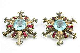 Alfred Philippe Trifari Sterling Star Earrings