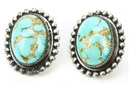 Vintage Sterling & Turquoise Art Glass Earrings
