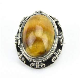 Sterling Silver Tigers Eye Cabochon Locket Pendant