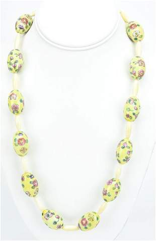 Antique Chinese Hand Painted Porcelain Necklace