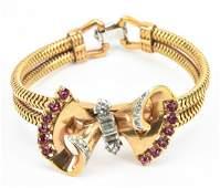Mazer Costume Jewelry Gilt Metal Retro Bracelet