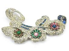 Antique Art Deco Costume Jewelry Floral Brooch