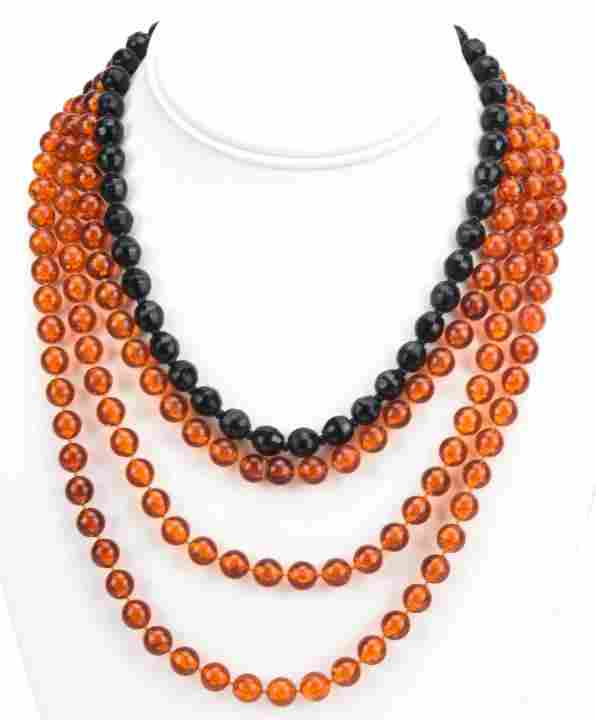 French Jet Necklace & Faux Amber Beaded Necklace