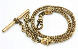 Antique 19th C Gold Filled Watch Chain w Dog Clip