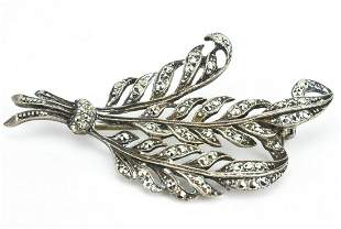 Georgian Style Feather Brooch Sterling & Marcasite