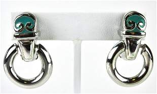 Pair Erwin Pearl C 1990 Sterling & Enamel Earrings