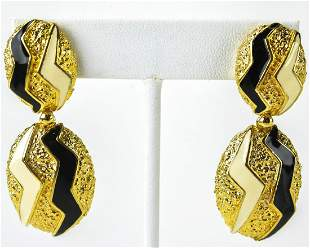 Panetta C 1975 Modern Gilt Metal Enamel Earrings