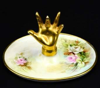 Antique C 1900 Limoges Figural Hand Ring Holder