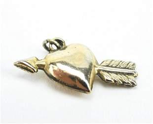 Antique 10kt Gold Cupid's Heart & Arrow Pendant