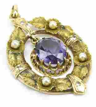 Antique 19th C 14kt Gold Amethyst Pearl Pendant