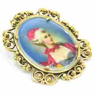 Estate 14kt Yellow Gold Portrait Necklace Pendant