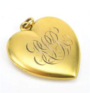 Large Antique 19th C Yellow Gold Heart Locket