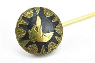 Antique C 1900 14kt Gold Stick Pin Dog Design