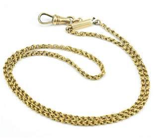 Antique 19th C Handmade 14kt Gold Chain w Clip