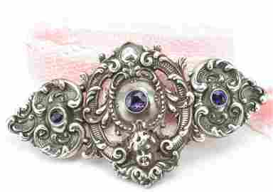 Impressive Sterling Amethyst Cherub Necklace