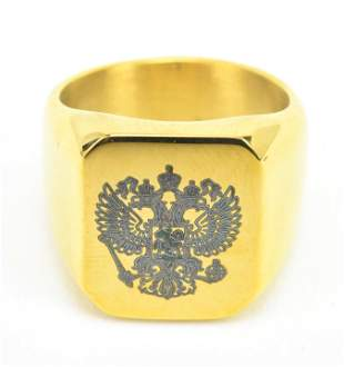 Russian Imperial Double Headed Eagle Signet Ring