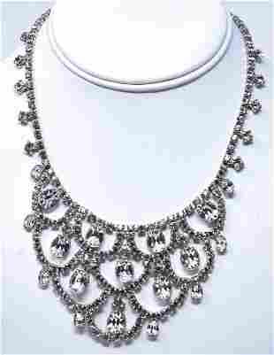 Vintage Rhodium Plated & Clear Paste Bib Necklace