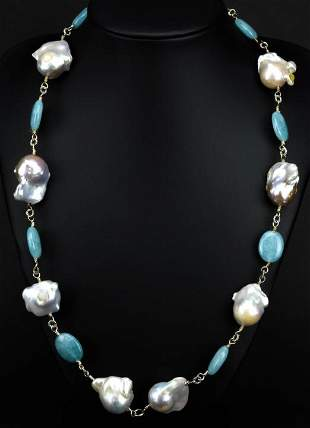 Cultured Baroque Pearl & Blue Chalcedony Necklace