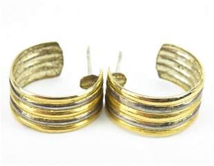 Pair Vintage Sterling Silver & Gold Hoop Earrings