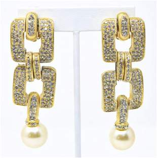 Pair of Vintage C 1990s Rhinestone Gilt Earrings
