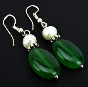 Pair Sterling Nephrite Jade Baroque Pearl Earrings