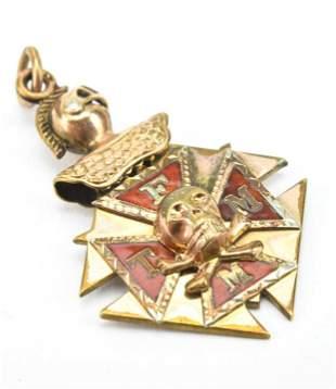 Antique 19th C Skull Cross Bones Necklace Pendant