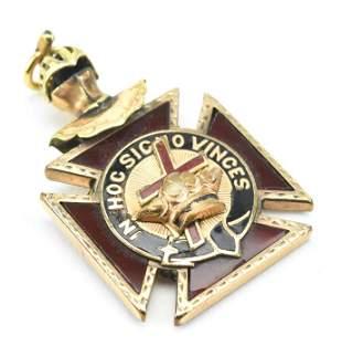 Antique 19th C Masonic Crown & Cross Pendant