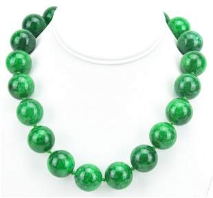 Hand Knotted Nephrite Jade Necklace w 20mm Beads