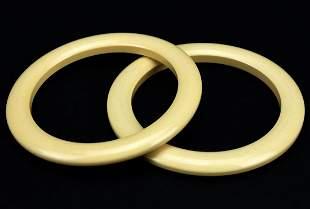 Pair of Bakelite Faux Bone Bangle Bracelets