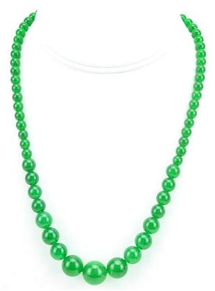 Graduated Size Bead Nephrite Jade Necklace