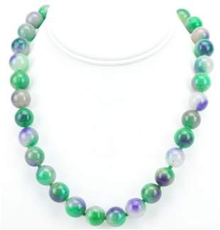 Green & Lavender Jade 12mm Bead Necklace