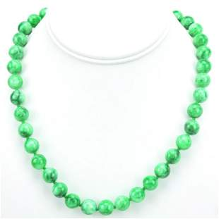 Hand Knotted Green Nephrite Spinach Jade Necklace