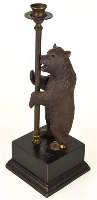 Carved Black Forest Bear Candlestick on Metal Base