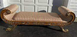 19th C Regency Style Upholstered Scrolled Bench