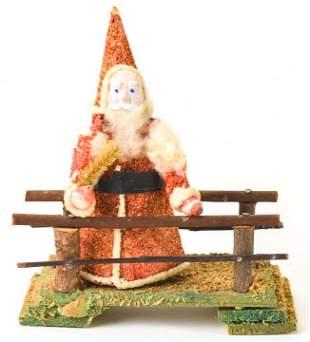 Antique Christmas Santa Claus on Wooden Bridge