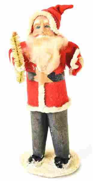 Antique Felt & Spun Cotton Christmas Santa Claus