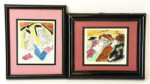 Framed Ira Moskowitz Hand Colored Judaica Etchings