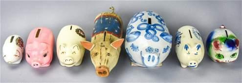 Collection 7 Vintage Ceramic Piggy Banks