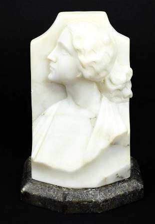 Carved Alabaster Female Bust w Marble Base