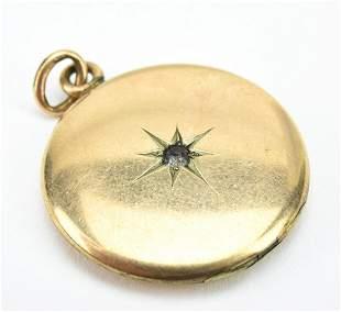 Antique 19th C Gold Locket w Gypsy Set Star Center