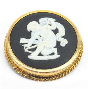 Estate English Wedgwood Cherub Pendant Brooch