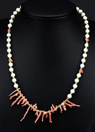 Estate Branch Coral & Mother of Pearl Necklace